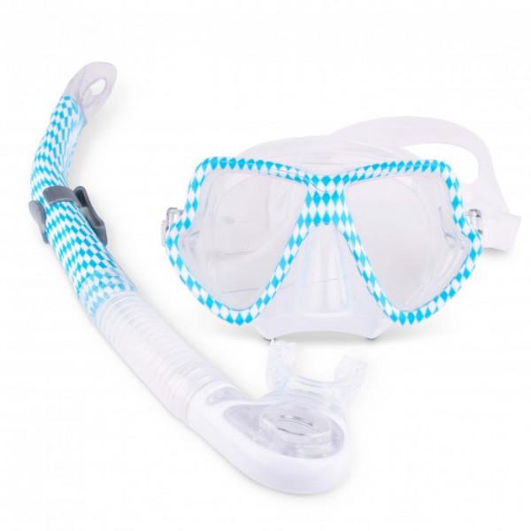 Bavaria Weiß-Blau Schnorchel Set mit optischen Gläsern